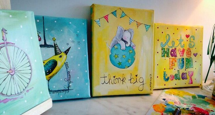 Kids paintings. Quotes. Love paintings. Elephants and birds. Bright paintings.
