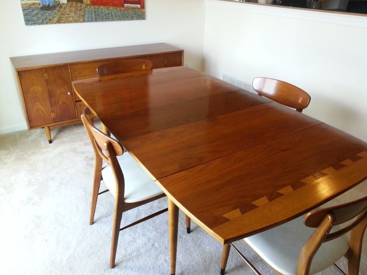 Lane Acclaim Mid Century Drop Leaf Table, Extension Leaf And 4 Chairs  Excellent Condition
