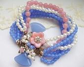 Pink & Blue Rhinestone Bracelet