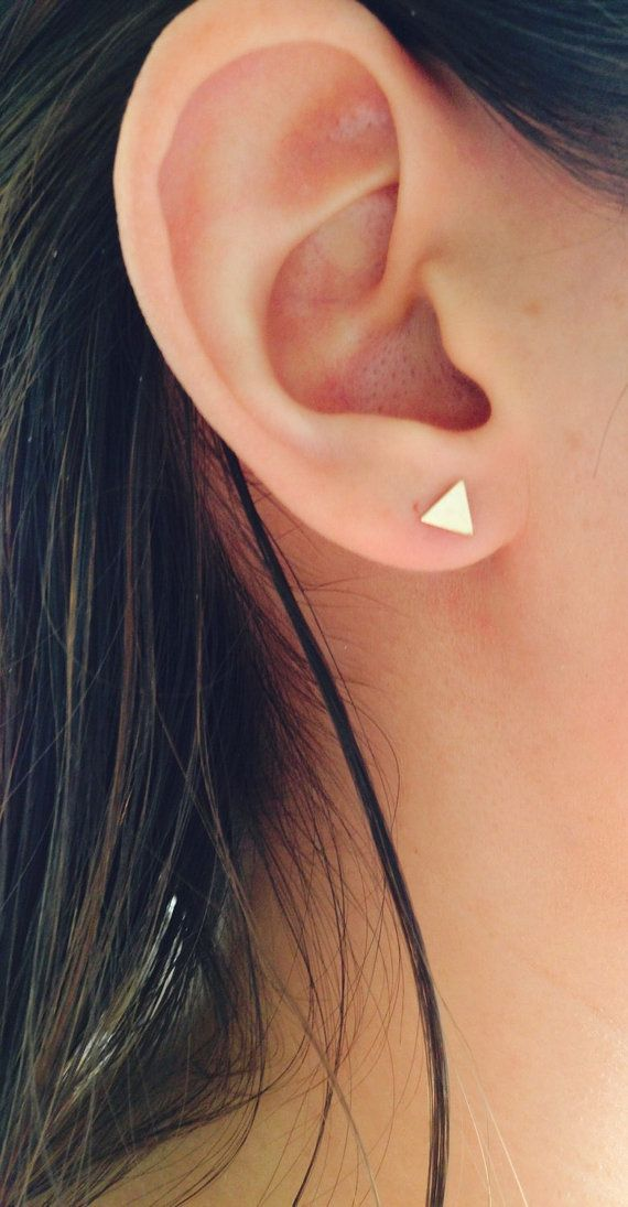 Tiny gold triangle design post stud earrings. Lightweight, cute, comfortable and delicate. EARRING DETAILS: * Gold filled 5mm triangle * Gold