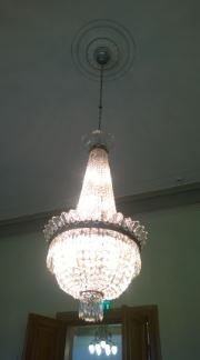 crystal chandelier at City Hall