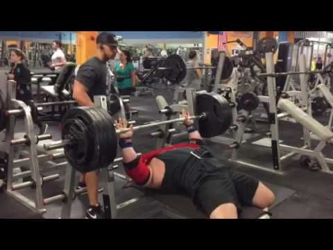 455 lbs bench press with coach Gary Miller and slingshot