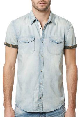 Buffalo David Bitton Men's Short Sleeve Salaneyis Light Denim Camo Collar Shirt - Light Indigo - 2Xl