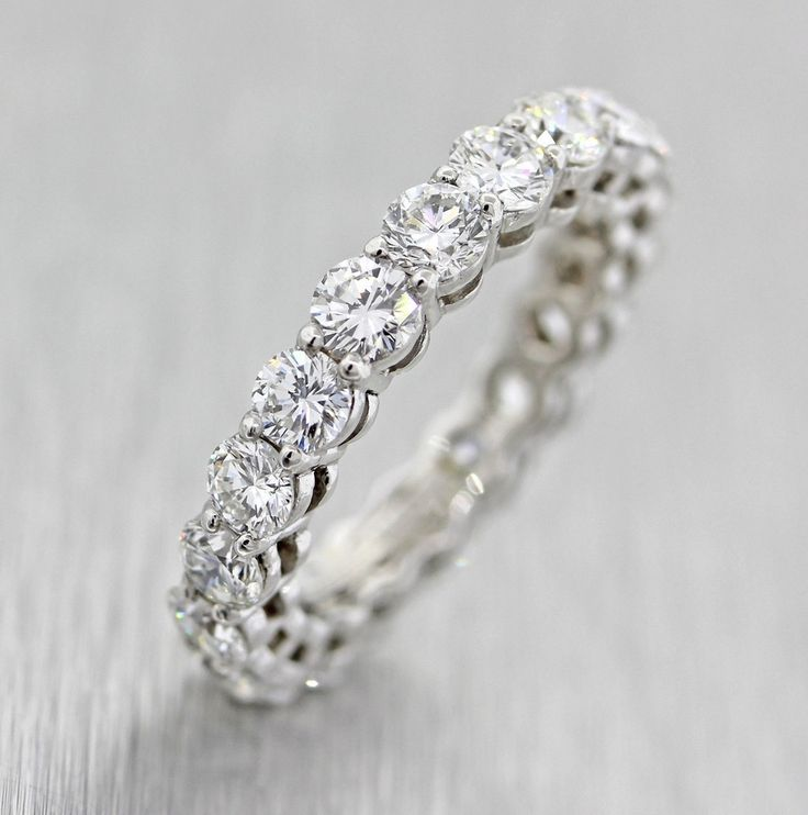 A Perfect 6TCW Solitaire Cut Russian Lab Diamond Wedding Bands Eternity Infinity Ring
