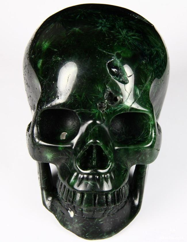 Green Coral Stone Crystal Skull