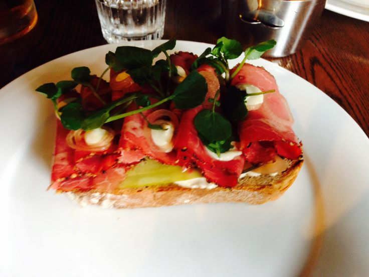 Open topped Pastrami sandwich from Heston Blumenthal's Crown pub in Bray