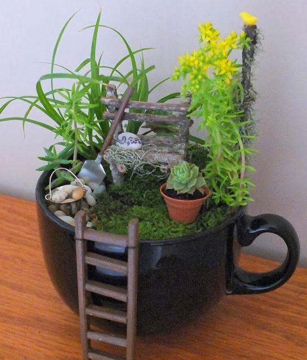 Cute cup fairy garden