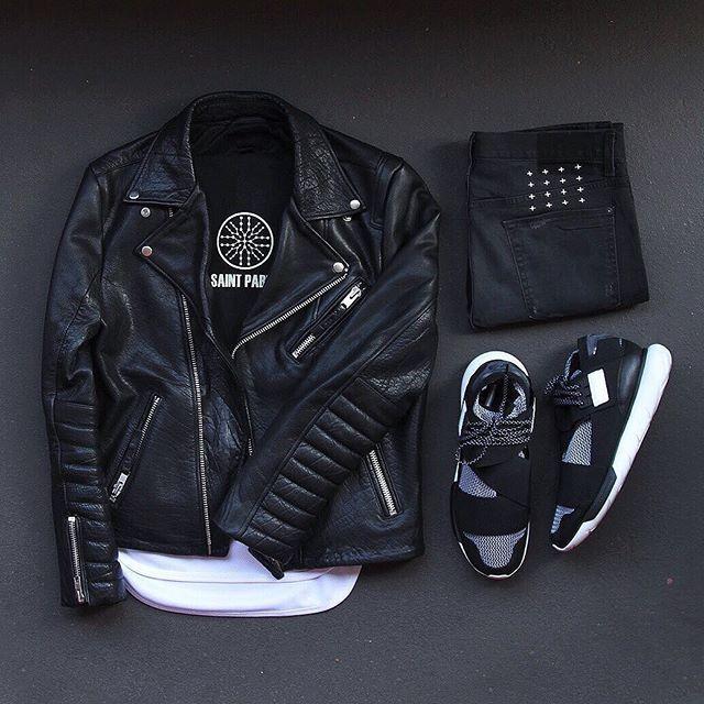 WEBSTA @ colorwaze - I feel it fade. #outfitgrid▫️Tee / #KanyeWest #SaintPablo Tour Merch▫️Long Tee / #EPTM▫️Jacket / #HM Biker Leather▫️Denim / #Ksubi▫️Kicks / #Adidas #Y3 #Qasa Hi Primeknit