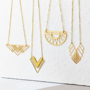Not On The High Street - Runner-up of best accessories - UK Style Awards. Image - Geometric Brass Necklace Collection - festival season
