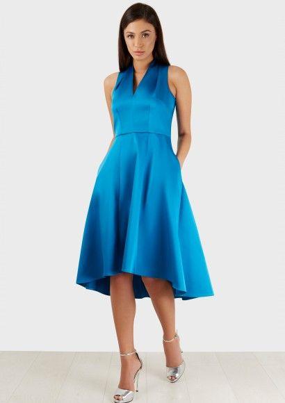 Blue Pleated Collar V Neck High Low Satin Dress