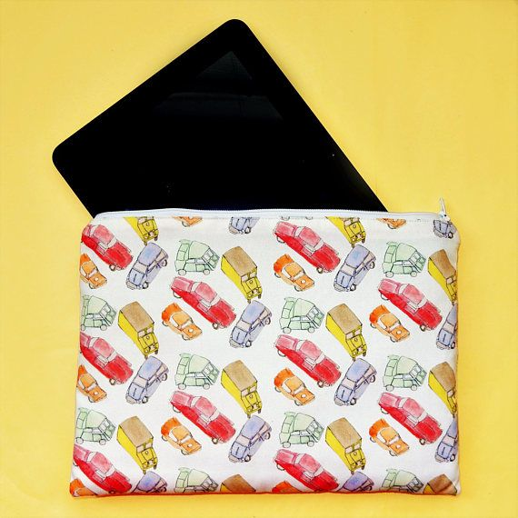 Car tablet case  vintage toy car tablet pouch  padded zip