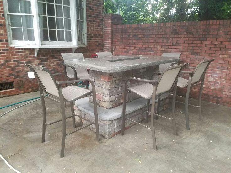 Outdoor Bar Fire-pit   Stone veneer   Concrete countertop   Propane Gas Fire-pit insert