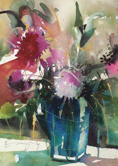 Bernhard Vogel Bernhard Vogel Aquarell Blumen