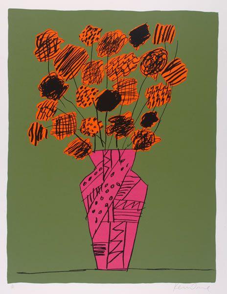 Pink Vase and Orange Flowers, Ken Done. 1991