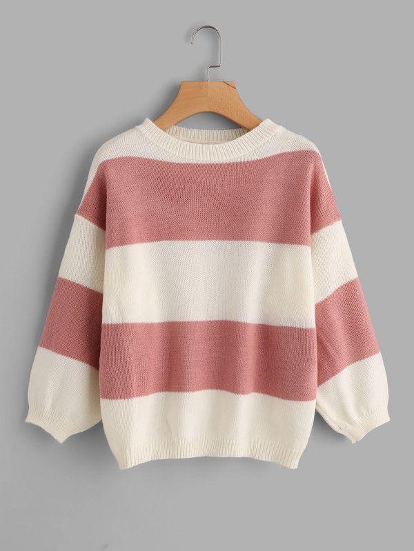 59fa15e1f9 Suéter de rayas anchas -Spanish SheIn(Sheinside) | oblečení in 2019 |  Pullover, Weiße pullover und Blumenprint