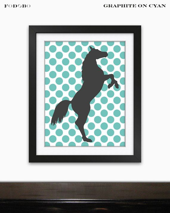 Horse dots background gender neutral childrens room by FODOBO, $25.00