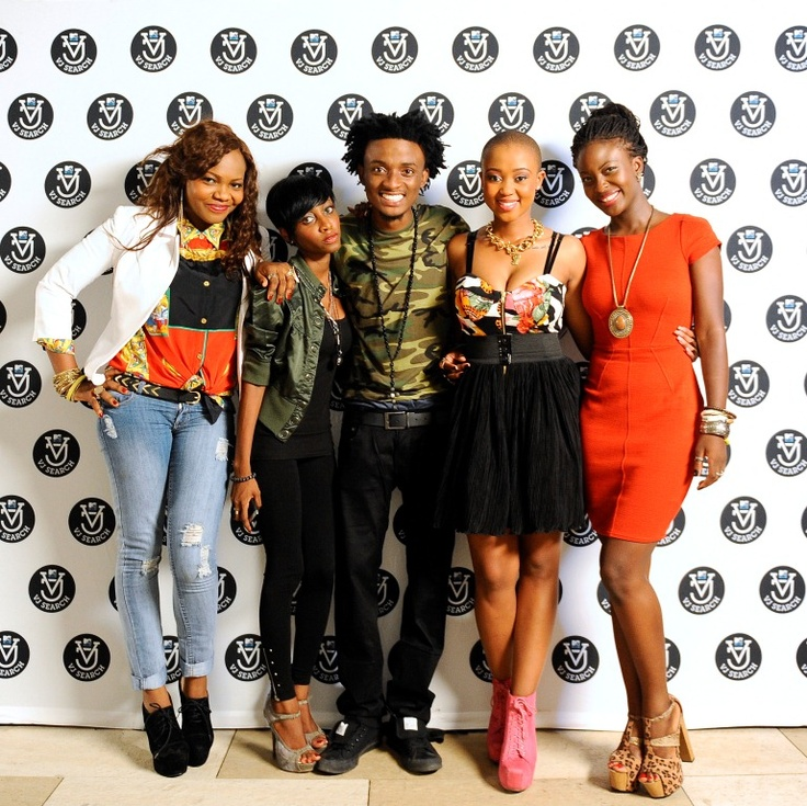 MTV Base VJs C-Von, Ehiz and Nomuzi with VJ search finalists Kemi and Ada