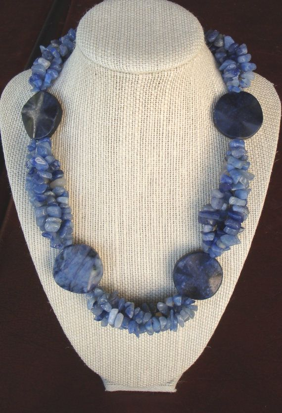 Blue Sodalite and Aventurine Necklace by LolasCustomJewelry, $69.00
