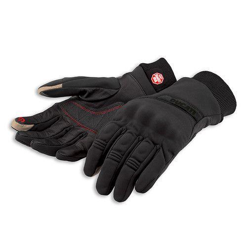 Rękawice do miejskiej jazdy w chłodniejsze miesiące. Zewnętrzna wartswa to Windstopper® softshell, wodoodporne łatwo zdejmowalne. #ducati