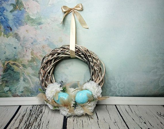 Beige white turquoise Easter spring floral by MKedraHandmade