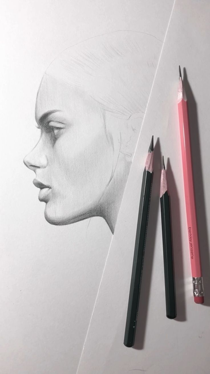 Beginning of drawing a face in profile