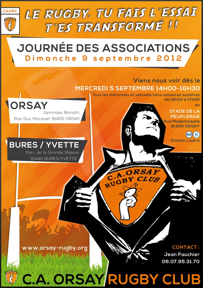 #Poster #Affiche #Rugby pour le CA ORSAY RUGBY CLUB - journée des Associations  #Orsay (91, France) septembre 2012
