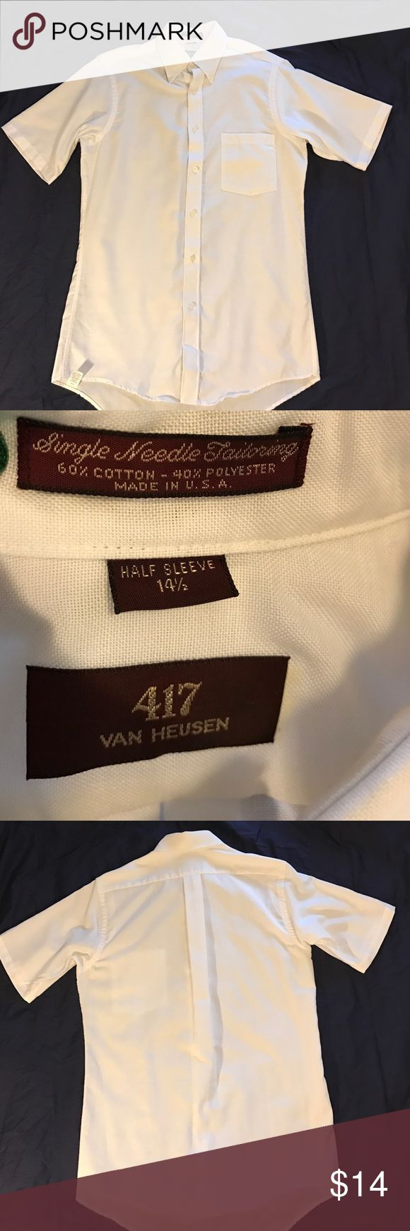 Van Heusen short sleeve dress shirt. Short sleeve button down shirt. Men's neck size 141/2. Left chest pocket. Worn once. No stains, missing buttons, or damage. Smoke free home. Van Heusen Shirts Dress Shirts