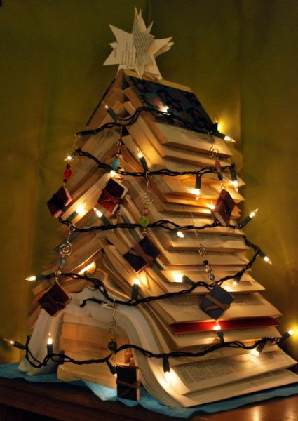 An academic's Christmas tree (made of books with a paper star)