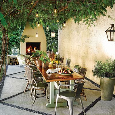 Inviting Patio Makeover Humble materials can pull off a high-end look. This
