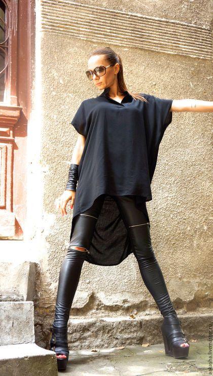 Черная рубашка туника длинная женская рубашка стильная одежда модная одежда…