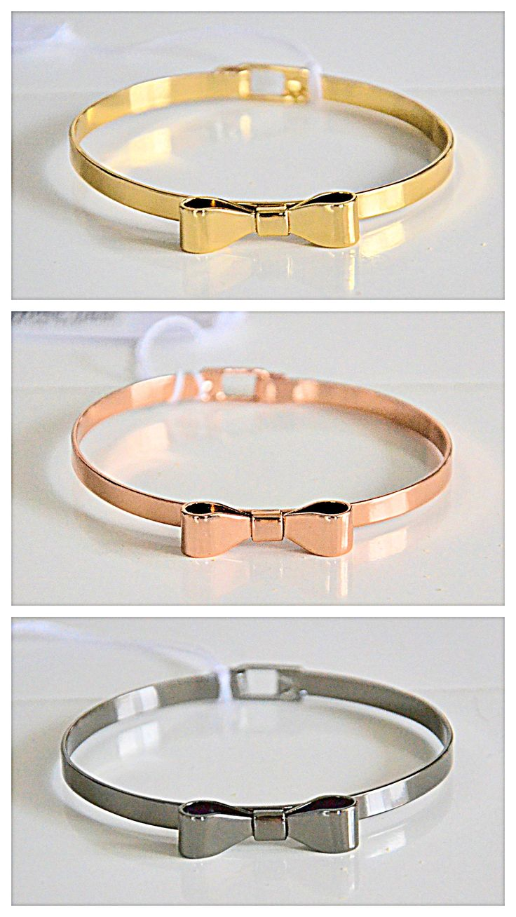 fashion jewelry. gold-plated metal bracelet with a bow. contact me: olapolakk@gmail.com