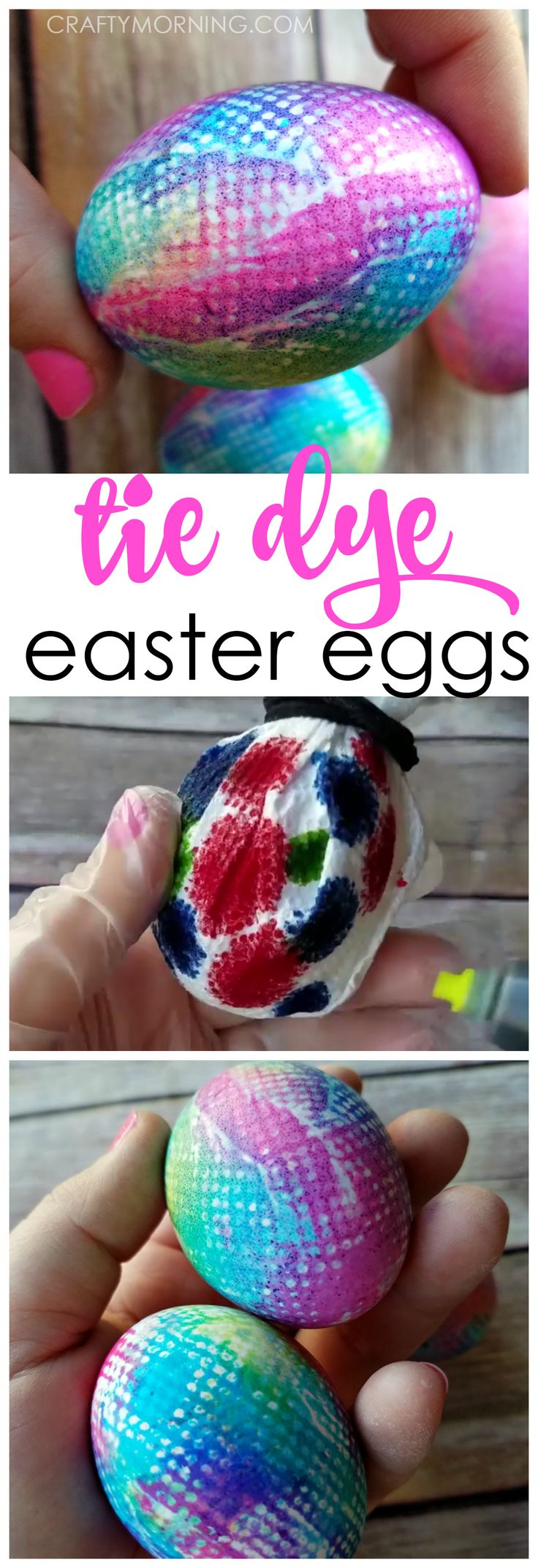 Beautiful tie dye easter egg decorating! Fun and unique way for the kids to dye eggs.