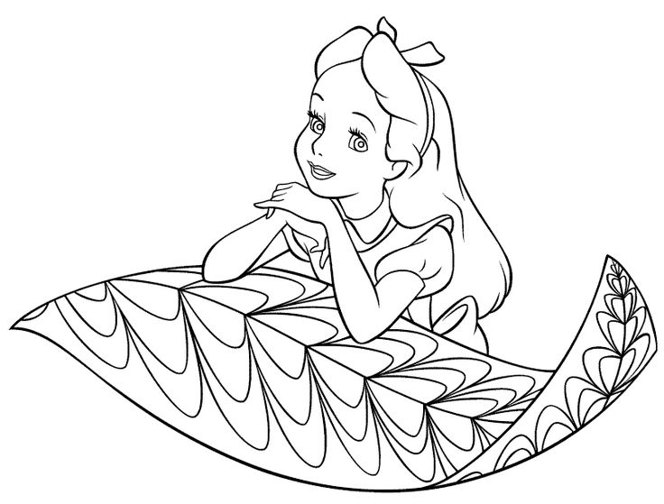 alice in wonderland colouring pages - Free Printable Disney Coloring Pages For Kids