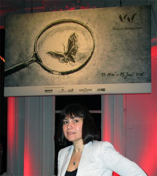 At the press conference on occasion of next year's Wiener Festwochen (from 13 May until 19 June 2016, Vienna)... fig.: Marina Davydova, Wiener Festwochen 2016 Head of Drama Department, in front of the new Wiener Festwochen 2016 motif of a butterfly under a loupe (illustration by artist Olaf Olsen). The motif stands for... Photo taken on 16 December 2015 at the press conference for Wiener Festwochen 2016 at Museumsquartier in Vienna.