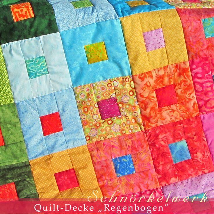 """Tagesdecke Quilt-Decke """"Regenbogendecke"""""""