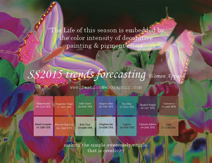 SS2015 trends forecasting for Women Apparel - The Life of this season is embedded by the color intensity of decorative painting & pigmen...