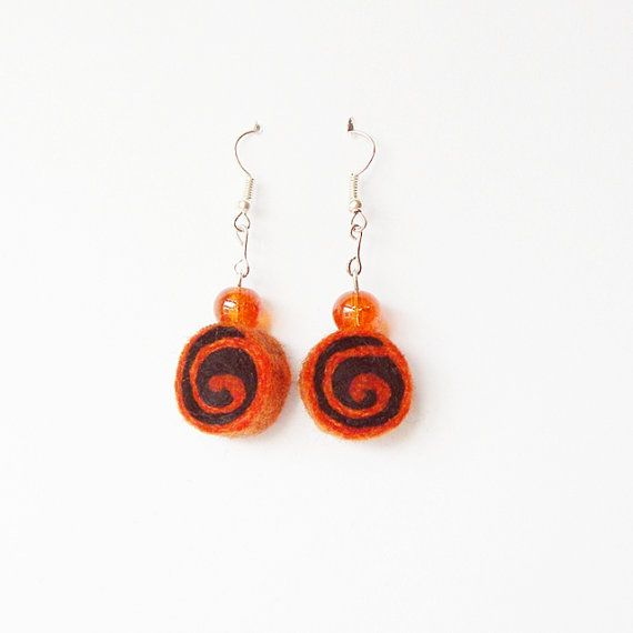 Earrings  unique felted rolls no 104 felt merino by MarudaFelting