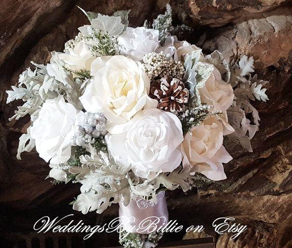 Winter Wedding Bouquet, Silver White Ivory Pine Cones, Hand Tied Silk Bridal Bouquet, Woodland Wedding, Rustic Winter Wedding, Winter Floral