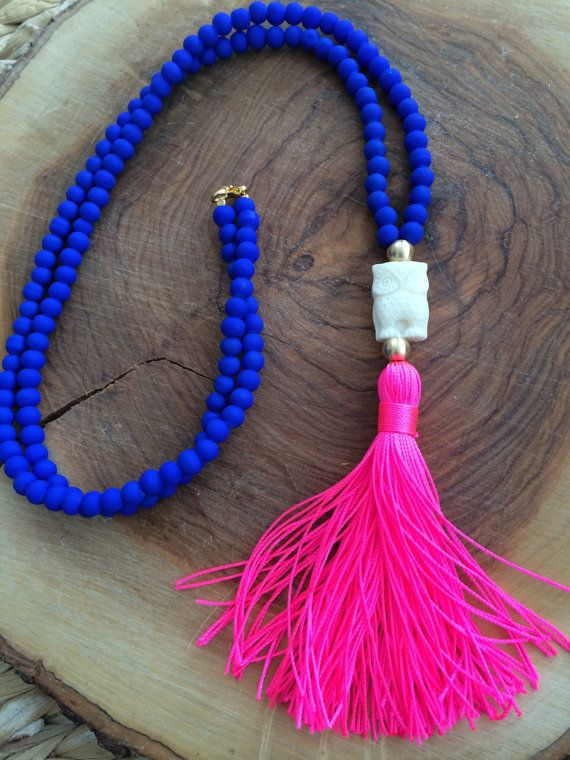 Blue Necklace. Long Beaded Necklace. Grey tassel Necklace. Owl bohemian necklace. Summer Necklace This seasons MUST HAVE necklace!!Cobalt