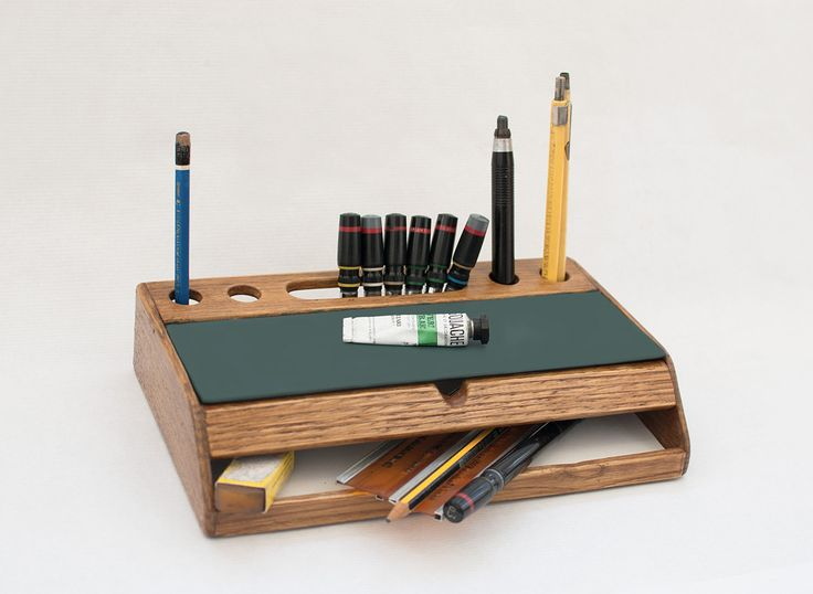 Rustic Wood Desk Organizer Vintage Mid Century Office Accessories Desktop Pen Holder