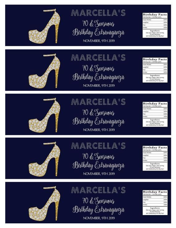 70 And Sensuous 8 X2 Birthday Water Bottle Labels Birthday Extravaganza Party Favors 8 X2 70th B In 2020 Water Bottle Labels Bottle Labels Sensuous