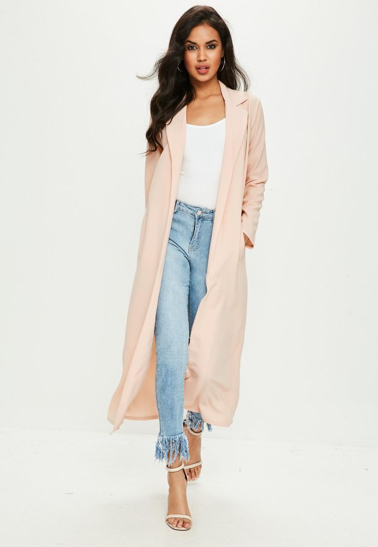 Missguided - Nude Long Sleeve Maxi Duster Jacket