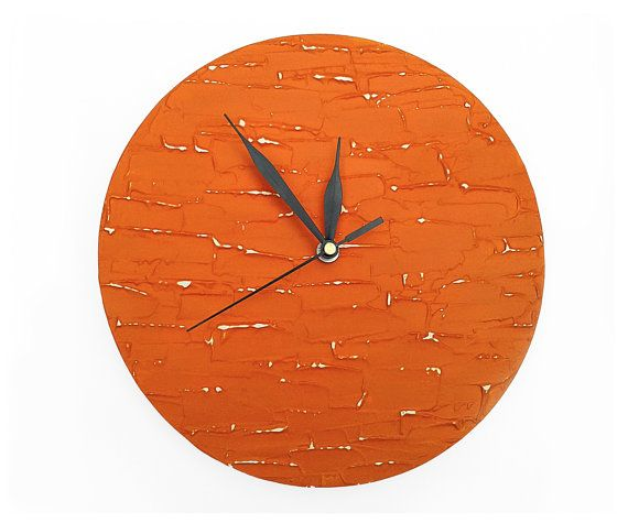 art design orange wall clock decor rich texture Hand painted unique wall clock, orange wall clock home decor handmade kitchen living room office decor diameter: 9.8 inch (25 cm) When you order please select the color of time hands!  This clock has been sold, I make a similar type. Because this clock is custom made, it may have slight differences from the one pictured. The pattern and colors will be the same but there may be some variations in the actual painting. It would be ready in 3-5…