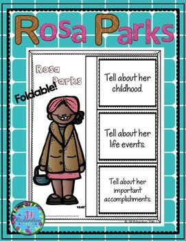 "Rosa Parks:  Have your children research Rosa Parks. For younger children, have them listen to stories and read ""easy readers"" about her.This product includes two ways for your children to share what they have learned about Rosa Parks in writing.Rosa Park"