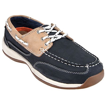 Rockport Works Shoes Women's RK670 Steel Toe Navy ESD Boat Shoes