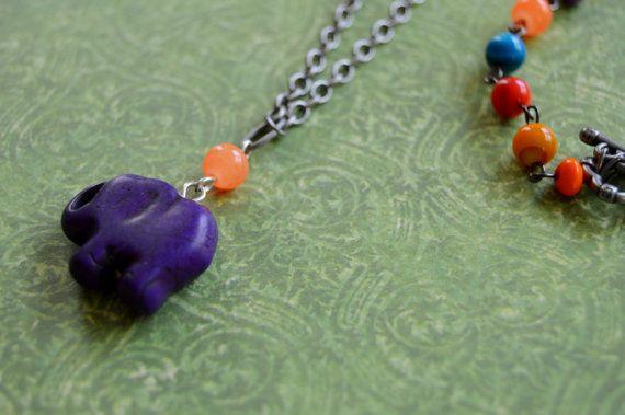 Purple Elephant Necklace by AmarisJewelry on Etsy