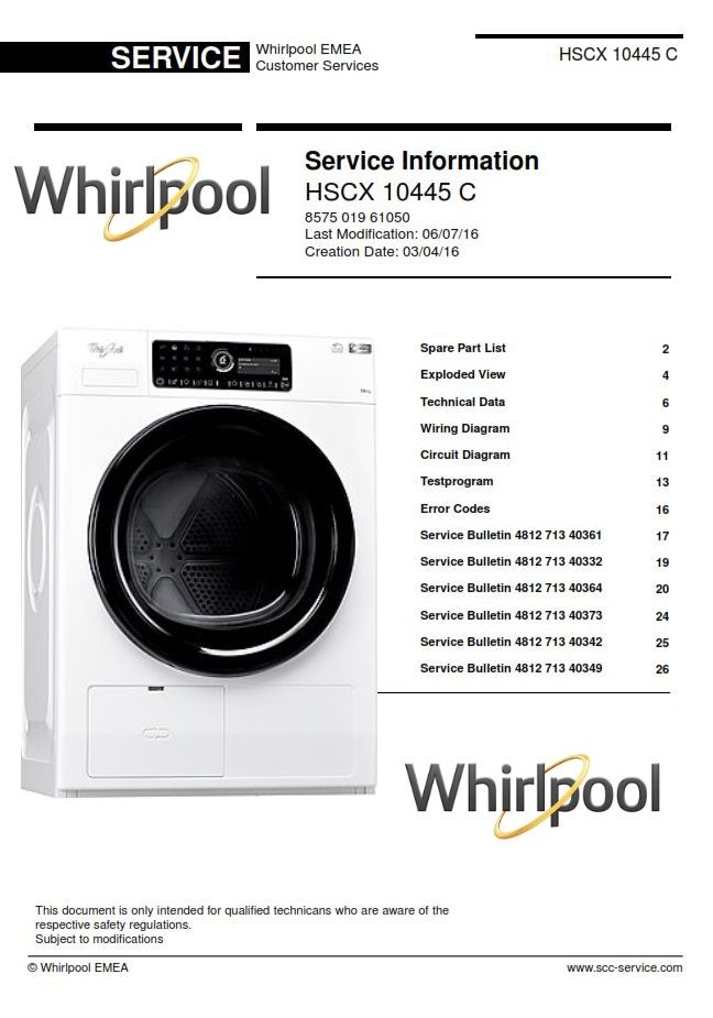 Whirlpool Hscx 10445 C Dryer Service Manual And Technicians Guide Whirlpool Appliance Thermador Appliances Appliance Logo