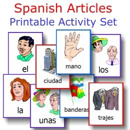 Spanish Articles FREE printable activity set from PrintableSpanish.com