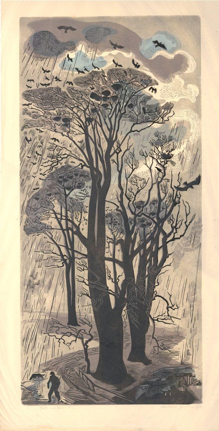 Gertrude Hermes: Rooks and Rain, linocut, 1950.