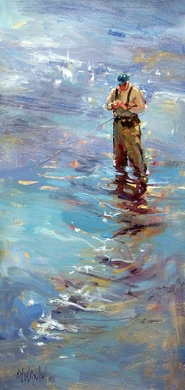 """Changing Flies""  Mary Maxam...he's not a fly-fisherman, but this reminds me of my dad..."